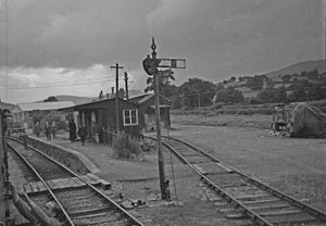 Tanat Valley Light Railway - Llanrhaiadr Mochnant station, with a railway enthusiasts' special train in 1958