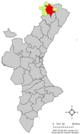 Localització de Morella respecte del País Valencià