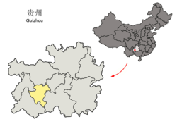 Location of Anshun City jurisdiction in Guizhou