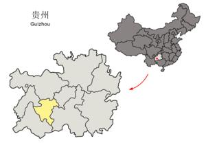 Anshun - Image: Location of Anshun Prefecture within Guizhou (China)