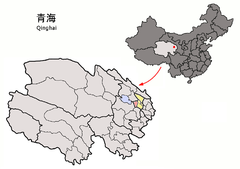 Location of Huangyuan within Qinghai (China).png