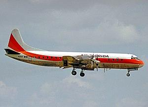 Air Florida - Lockheed L-188 Electra of Air Florida landing at Miami International Airport in 1976