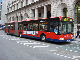 London Buses route 25 - East London Mercedes-Benz O530G on Cheapside in April 2007