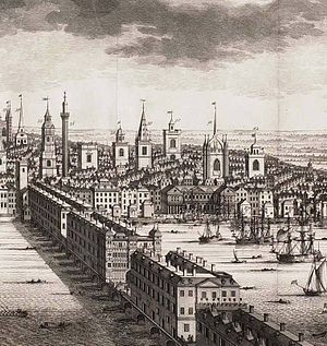 London Bridge Is Falling Down - A prospect of Old London Bridge in 1710.