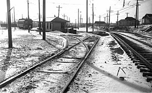 Long Branch, Toronto - Long Branch Loop in 1935, showing a streetcar going west to Port Credit