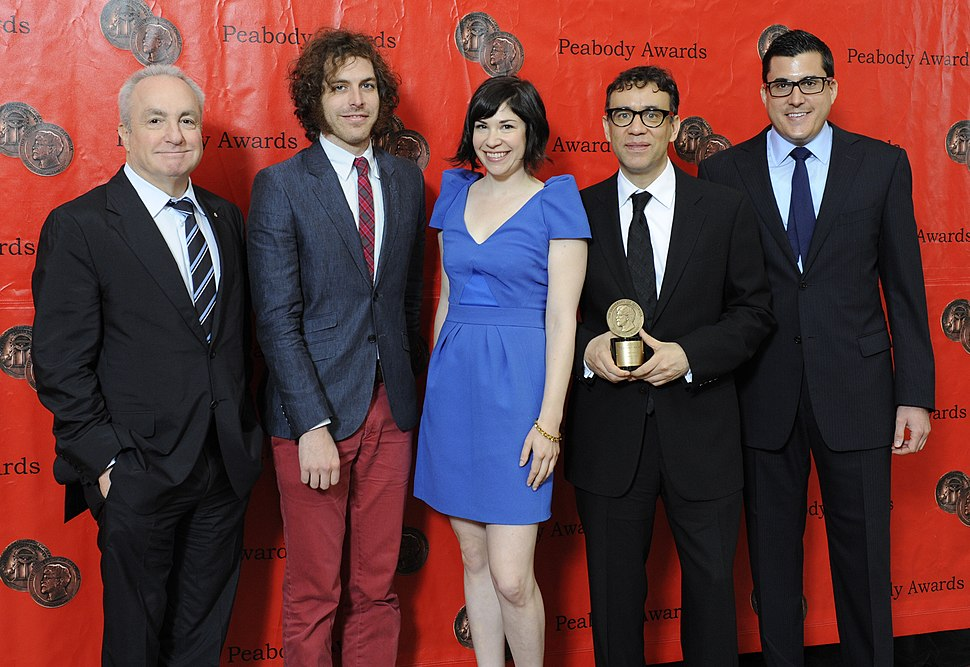 Lorne Michaels, Jonathan Krisel, Carrie Brownstein, Fred Armisen and Andrew Singer at the 71st Annual Peabody Awards (cropped)