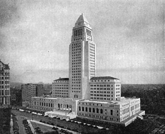 Los Angeles City Hall - 1931 photograph of then new City Hall with the now-demolished 10-story International Savings Bank to the immediate left.