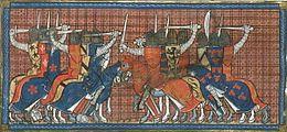 Miniature du XIVesiècle représentant deux troupes de chevaliers en armure s'affrontant, dont l'un est équipé et harnaché aux armes de France et l'autre aux armes de Normandie.