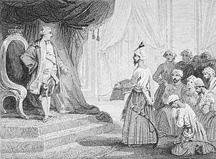 Louis XVI receives the ambassadors of Tipu Sultan in 1788. Tipu Sultan is known to have sent many diplomatic missions to France, the Ottoman Empire, Sultanate of Oman, Zand Dynasty and Durrani Empire. Louis XVI Receives the Ambassadors of Tipu Sultan 1788 Voyer after Emile Wattier 19th century.jpg