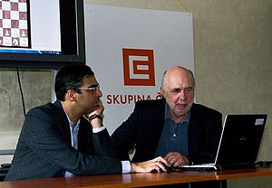 Lubomir Kavalek - World Champion Viswanathan Anand analyzes a game with Kavalek in Prague in 2011