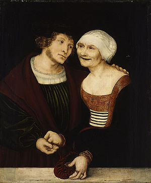 Cougar (slang) - The unlikely couple (Young Man and Old Woman) by Lucas Cranach the Elder, Museum of Fine Arts (Budapest)