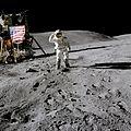 Lunar Module Pilot Charles Duke salutes the flag.jpg
