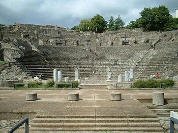 English: Lyon, Theatre Romain of Fourviere Fra...
