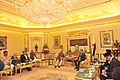 M. Hamid Ansari calling on His Majesty Sultan Haji Hassanal Bolkiah Muizzaddin Waddaulah Sultan of Brunei, in Brunei. The Minister of State for Home Affairs, Shri Haribhai Parthibhai Chaudhary is also seen.jpg