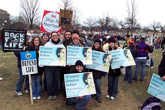 Christian right - Demonstrators at the 2004 March for Life in Washington D.C.