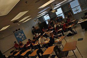 Miami Beach Senior High School - Inside a classroom at Miami Beach Senior High (Building 2) during final exams