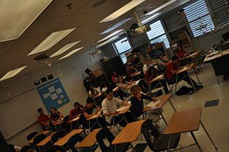 Miami Beach Senior High School - Inside a classroom at Miami Beach Senior High (Building 2) during final exams