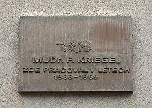František Kriegel - Memorial plaque in Thomayer University Hospital, Prague, where Kriegel worked from 1966 to 1969