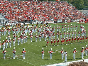 Miami University Marching Band - The Miami University Marching Band performing a halftime show on September 7, 2002 in Yager Stadium at Miami University.