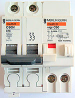 Interruttore monofase differenziale-magnetotermico: la leva del differenziale è bianca e al centro, le leve magnetotermiche sono nere a sinistra, il tasto per il test di funzionamento è il bianco a destra.