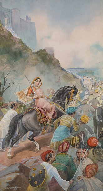 Tarabai - A 1927 depiction of Tarabai in battle by noted Marathi painter M. V. Dhurandhar