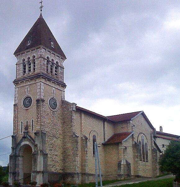 L'église de la commune de Maillat (Ain, France)