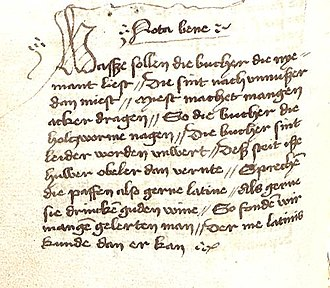 Nota bene - Verses on the futility of unread books, presented as a nota bene (handwriting Hs. I 300, City Library of Mainz)
