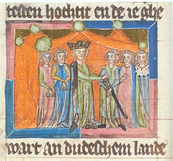 Depiction of the Mainz court festival from 1184 in the Saxon World Chronicle, Northern Germany, first quarter of the 14th century