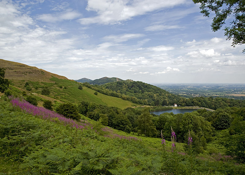 The Malvern Hills (a designatated AONB) as viewed approaching the British Camp on Hereforshire Beacon (Iron Age earth works as seen on the left).