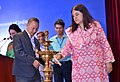 Maneka Sanjay Gandhi lighting the lamp at the National Conference on Beti Bachao Beti Padhao (BBBP) - with the State Officials, District OfficialsNodal Officers, in New Delhi.JPG