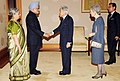 Manmohan Singh and his wife Smt. Gursharan Kaur being received by the Emperor of Japan, His Majesty Akihito and the Empress of Japan, Her Majesty Michiko, at the luncheon, at Imperial Palace, in Tokyo, Japan on May 29, 2013.jpg