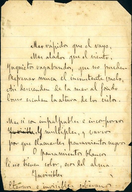 Manuscrito dun poema de En las orillas del Sar.
