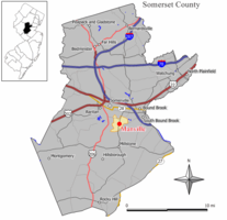 Map of Manville in Somerset County. Inset: Location of Somerset County highlighted in the State of New Jersey.