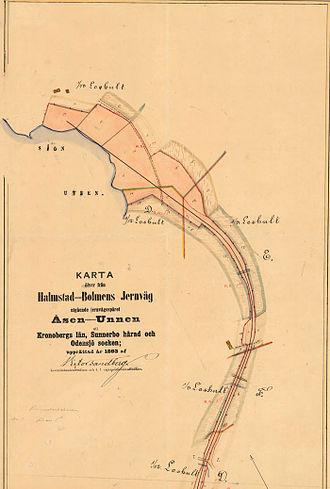 Halmstad Bolmen Railway - Map with track from Åsen to Unnen (1893)