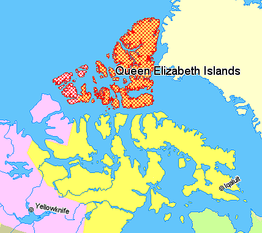 Queen Elizabeth Islands (rood)  Nunavut  Northwest-Territories  Quebec  Groenland
