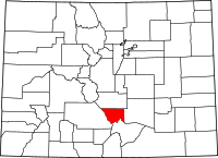 Map of Колорадо highlighting Custer County