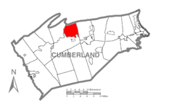 Map of Cumberland County, Pennsylvania highlighting Lower Frankford Township