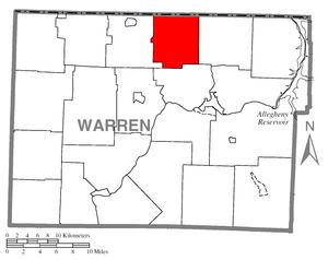 Farmington Township, Warren County, Pennsylvania - Image: Map of Farmington Township, Warren County, Pennsylvania Highlighted