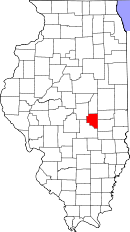 Map of Illinois highlighting Moultrie County