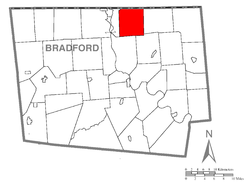 Map of Bradford County with Litchfield Township highlighted