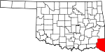 State map highlighting McCurtain County