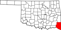 Map of Oklahoma highlighting McCurtain County