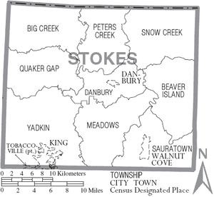 Stokes County, North Carolina - Map of Stokes County, North Carolina With Municipal and Township Labels