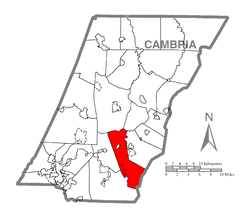 Map of Cambria County, Pennsylvania highlighting Summerhill Township