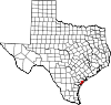State map highlighting Aransas County
