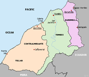 Political map of the Tumbes region