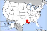 Map of USA highlighting Louisiana