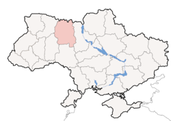 Location o Zhytomyr Oblast (red) athin Ukraine (blue)
