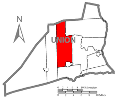 Map of Union County, Pennsylvania highlighting West Buffalo Township