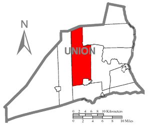 West Buffalo Township, Union County, Pennsylvania - Image: Map of Union County, Pennsylvania Highlighting West Buffalo Township